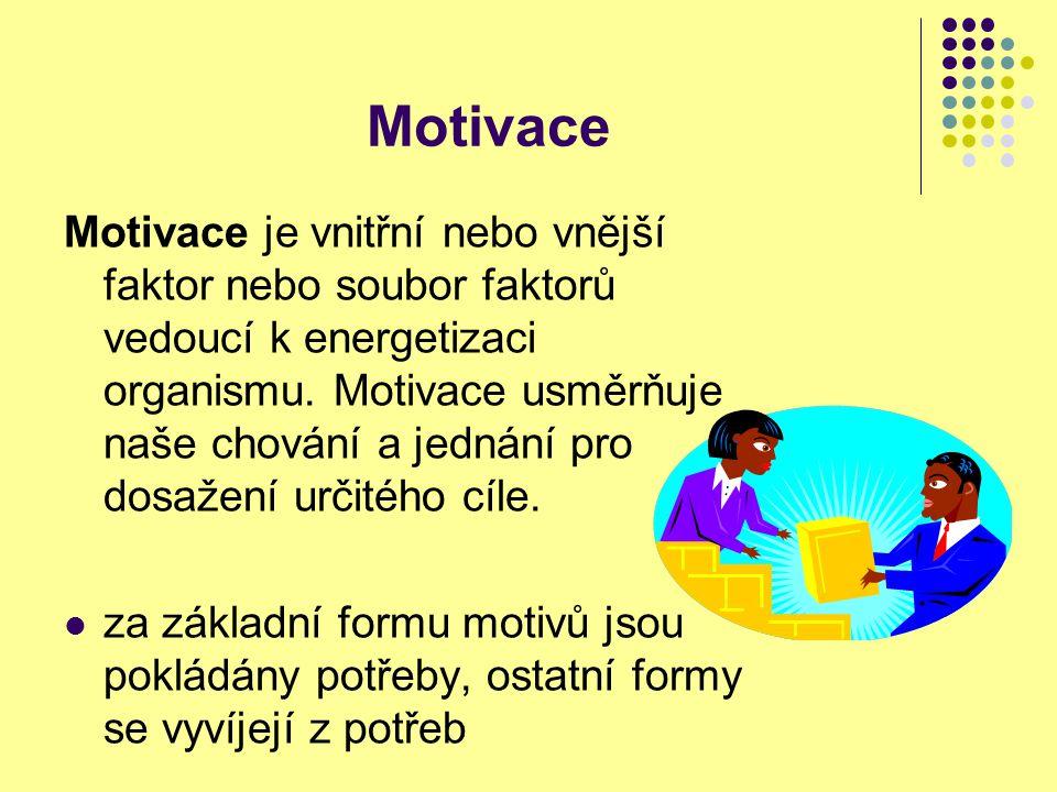 Motivace Motivace je vnitřní nebo vnější faktor nebo soubor faktorů vedoucí k energetizaci organismu. Motivace usměrňuje naše chování a jednání pro do