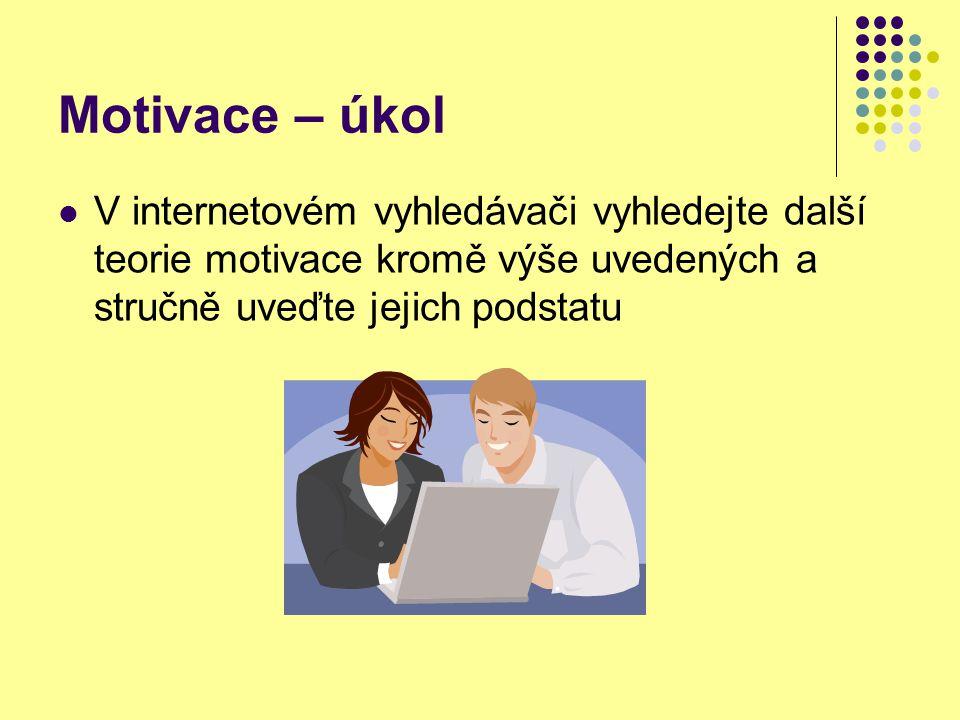 Motivace – řešení V internetovém vyhledávači vyhledejte další teorie motivace kromě výše uvedených a stručně uveďte jejich podstatu např: http://www.vedeme.cz/pro-vedeni/kapitoly-vedeni/65-teorie-motivace/85-teorie-motivace.html Vroomova teorie očekávání motivační síla je úměrná našim přesvědčením člověk má přesvědčení o přitažlivosti cíle, přesvědčení o tom, že když se bude chovat definovaným způsobem, cíle dosáhne a přesvědčení o tom, že se tak chovat bude umět.