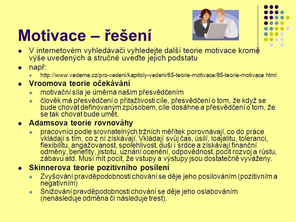 Zdroje Vodáček, L.Vodáčková, O. Management – teorie a praxe 80.