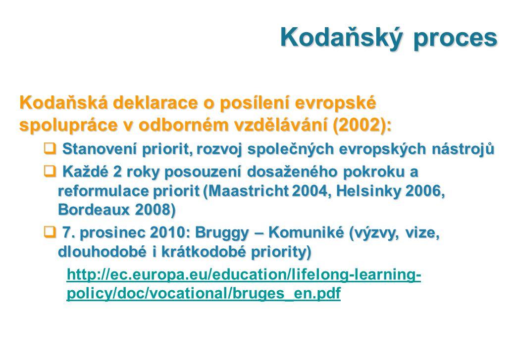 Kodaňský proces Kodaňská deklarace o posílení evropské spolupráce v odborném vzdělávání (2002):  Stanovení priorit, rozvoj společných evropských nástrojů  Každé 2 roky posouzení dosaženého pokroku a reformulace priorit (Maastricht 2004, Helsinky 2006, Bordeaux 2008)  7.