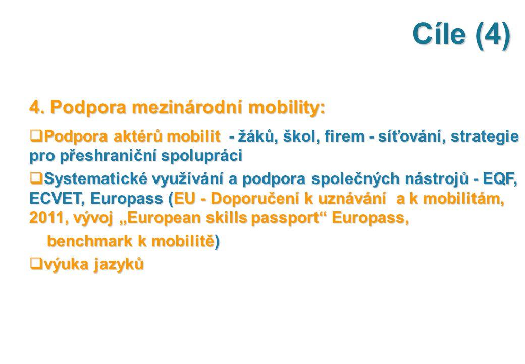 Cíle (4) 4. Podpora mezinárodní mobility:  Podpora aktérů mobilit - žáků, škol, firem - síťování, strategie pro přeshraniční spolupráci  Systematick