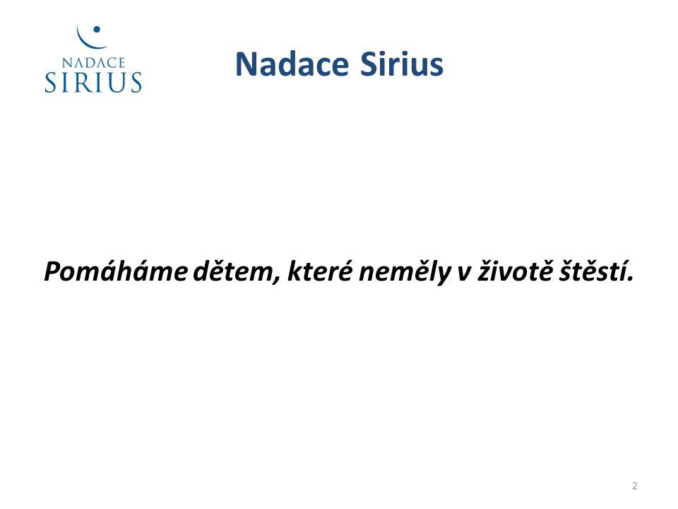 Nadace Sirius Pomáháme dětem, které neměly v životě štěstí. 2