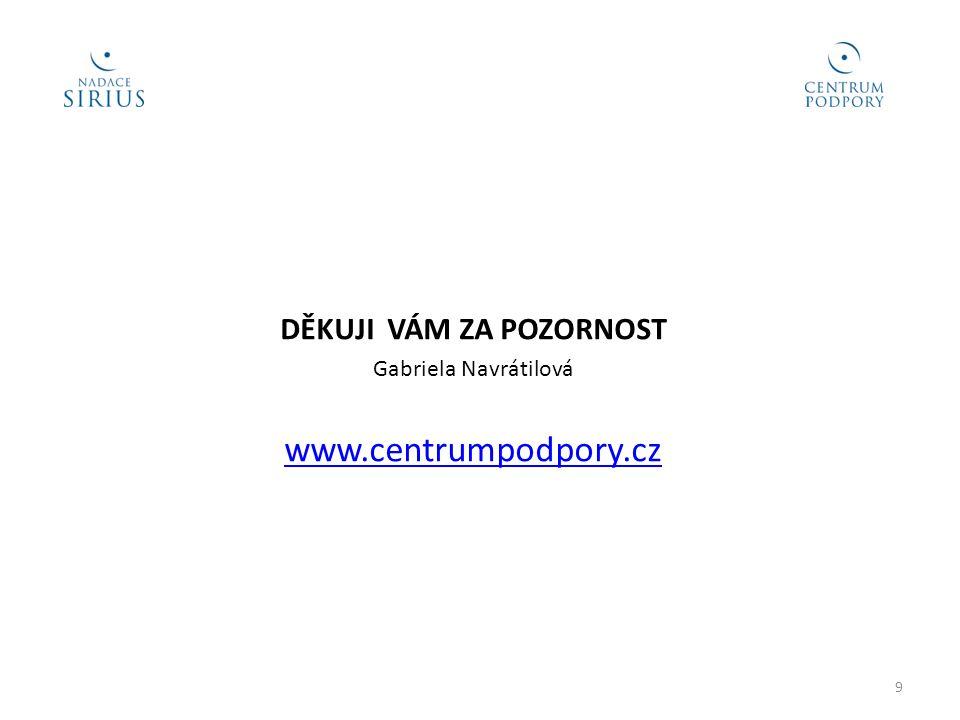 DĚKUJI VÁM ZA POZORNOST Gabriela Navrátilová www.centrumpodpory.cz 9