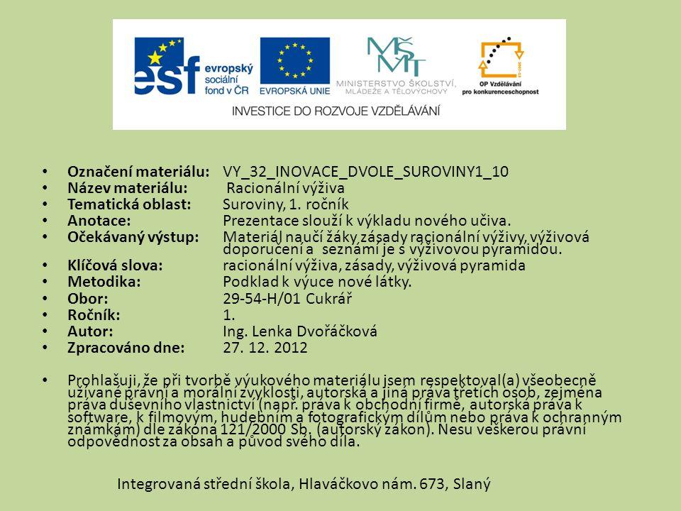 Označení materiálu: VY_32_INOVACE_DVOLE_SUROVINY1_10 Název materiálu: Racionální výživa Tematická oblast:Suroviny, 1. ročník Anotace:Prezentace slouží