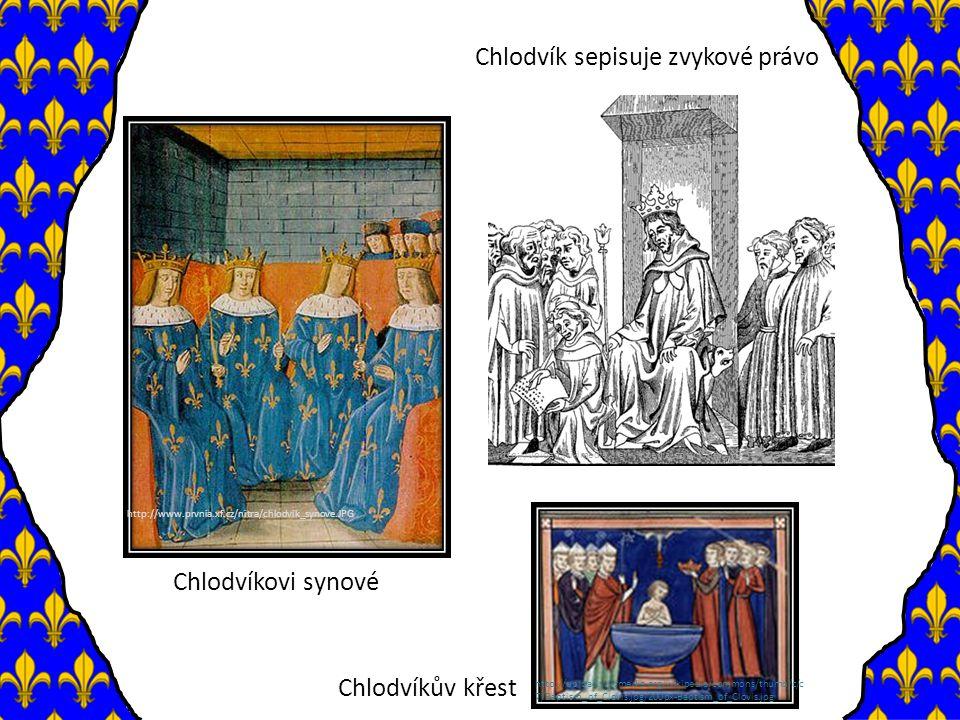 Chlodvíkovi nástupci o říše rozdělena mezi Chlodvíkovy syny – výboje pokračují o poslední z bratří říši předává svým čtyřem synům - ti však nespolupracují a vedou bratrovražedné války o na úkor moci královské roste moc šlechty a majordomů Vláda majordomů o r.