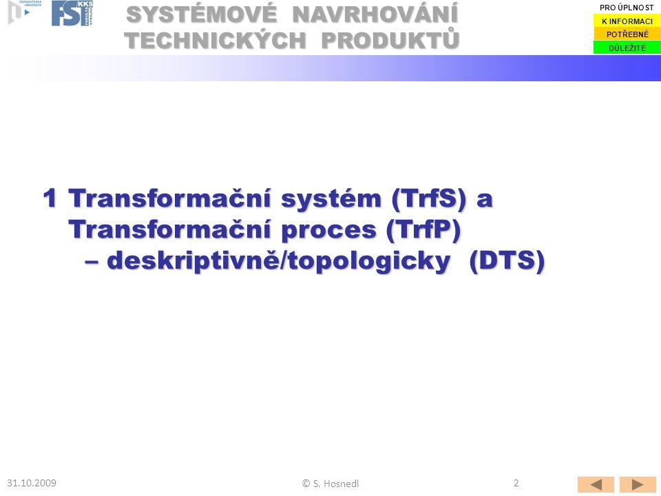1.1 Základní poznatky 1.1 Základní poznatky 1.2 Obecný model 1.2 Obecný model Transformačního systému (TrfS) Transformačního systému (TrfS)Transformačního systému (TrfS)Transformačního systému (TrfS) s Transformačním procesem (TrfP) s Transformačním procesem (TrfP)s Transformačním procesem (TrfP)s Transformačním procesem (TrfP) 1.3 Technické procesy (TP) 1.3 Technické procesy (TP) jako Transformační procesy (TrfP) jako Transformační procesy (TrfP)jako Transformační procesy (TrfP)jako Transformační procesy (TrfP) OBSAH © S.