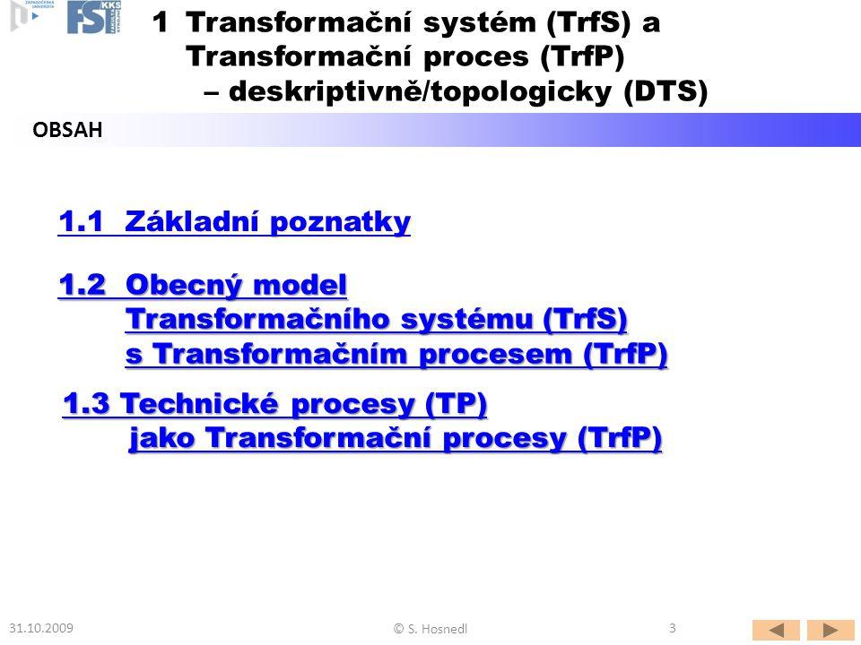 Poznámky: - Základní prvky TrfS lze získat přizpůsobením obecného modelu Akce pro potřeby konstruování: SUBJEKT => operátory PROCES => transformační proces OBJEKT =>operand - Operand se obecně skládá z materiálu (M), energie (E) informací (I) a živých bytostí (L).