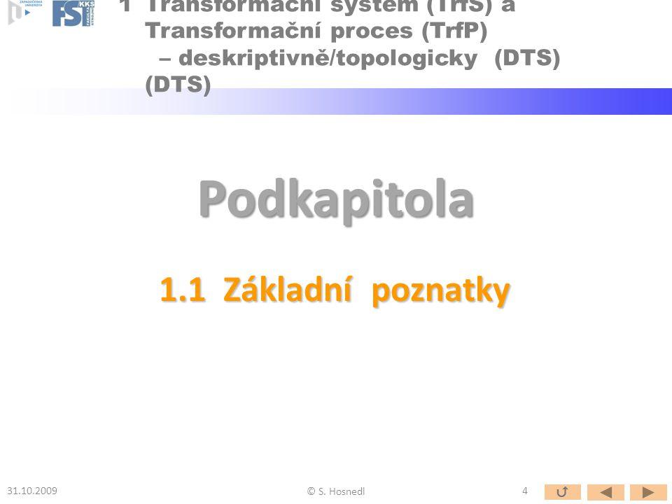 Obr.: Obecný model Provozního Systému s Provozním Procesem TS - konkretizace Transformačního Systému (TrfS) s Transformačním Procesem (TrfP) [Hubka 1988 aj.] VEDL..