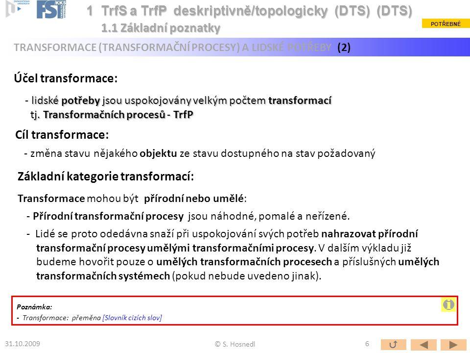 Zvláštní případy obecného transformačního procesu (TrfP): Technický proces (TP): TP je umělá transformace (TrfP) operandu s dominantním využitím (jako operátoru) technických prostředků (TS).
