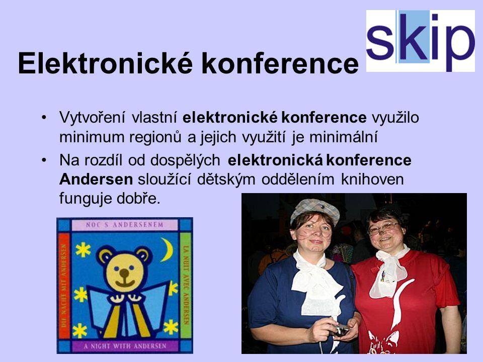 Elektronické konference Vytvoření vlastní elektronické konference využilo minimum regionů a jejich využití je minimální Na rozdíl od dospělých elektronická konference Andersen sloužící dětským oddělením knihoven funguje dobře.