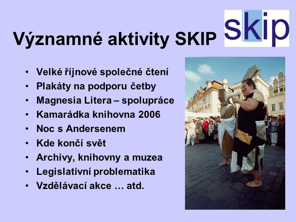 Mediální kampaně SKIP Březen – měsíc internetu Biblioweb Knihovnický happening Týden knihoven Knihovna roku Grand Biblio … atd.