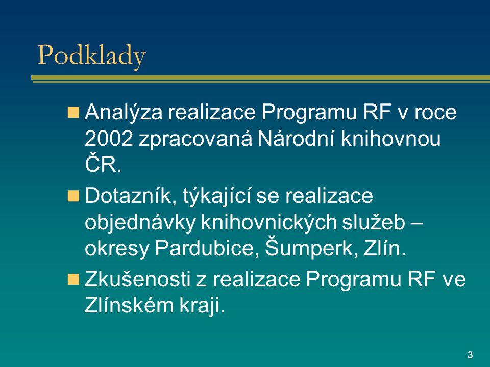 3 Podklady Analýza realizace Programu RF v roce 2002 zpracovaná Národní knihovnou ČR.