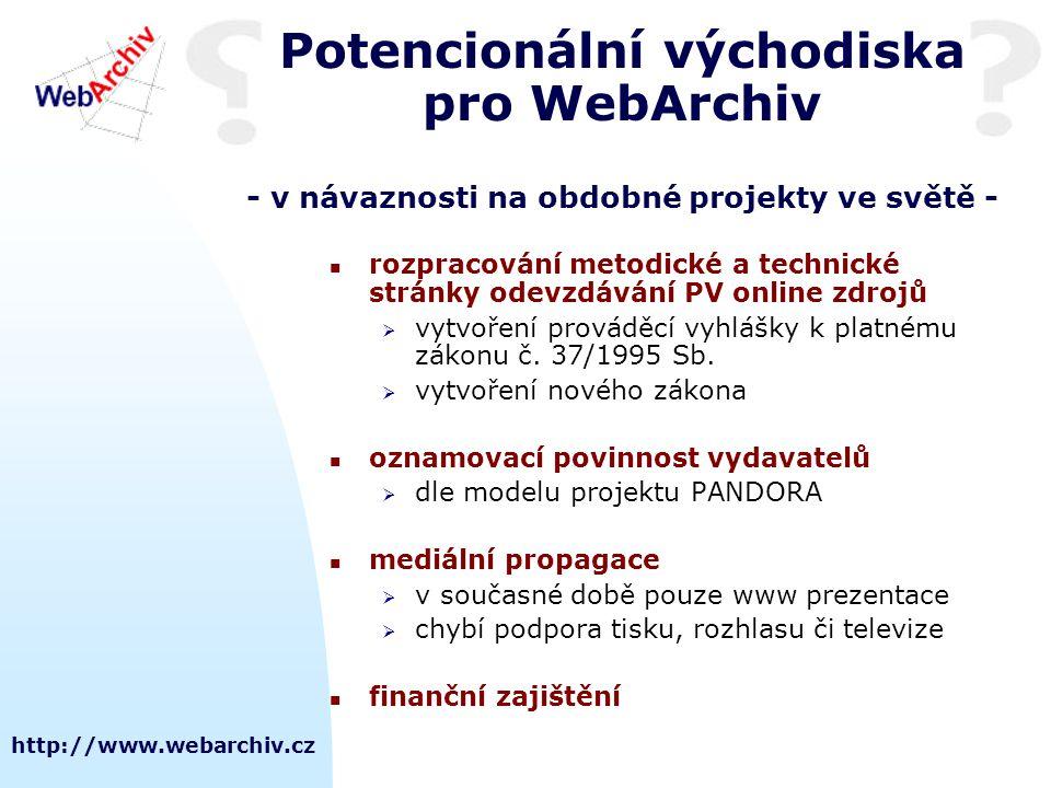 http://www.webarchiv.cz Potencionální východiska pro WebArchiv - v návaznosti na obdobné projekty ve světě - rozpracování metodické a technické stránky odevzdávání PV online zdrojů  vytvoření prováděcí vyhlášky k platnému zákonu č.