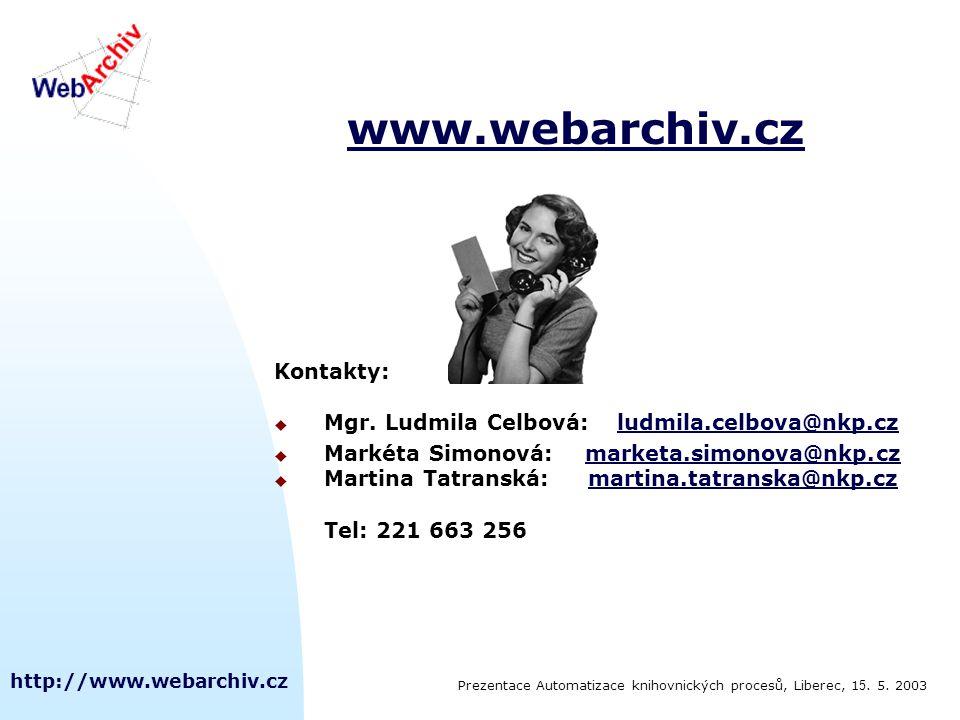 http://www.webarchiv.cz www.webarchiv.cz Kontakty:  Mgr.