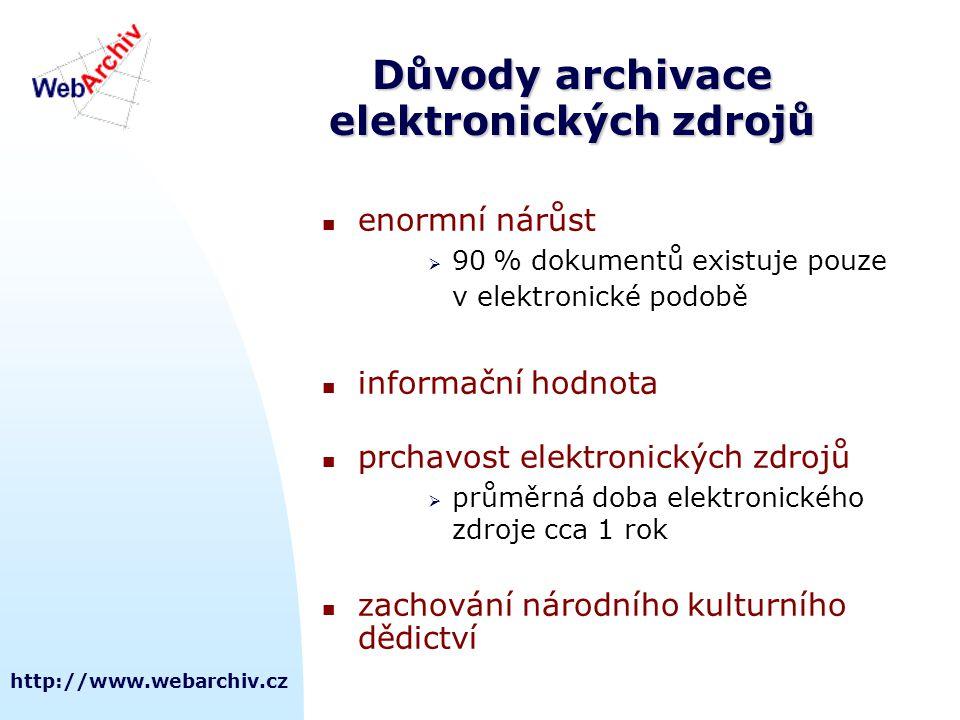 http://www.webarchiv.cz Důvody archivace elektronických zdrojů enormní nárůst  90 % dokumentů existuje pouze v elektronické podobě informační hodnota prchavost elektronických zdrojů  průměrná doba elektronického zdroje cca 1 rok zachování národního kulturního dědictví