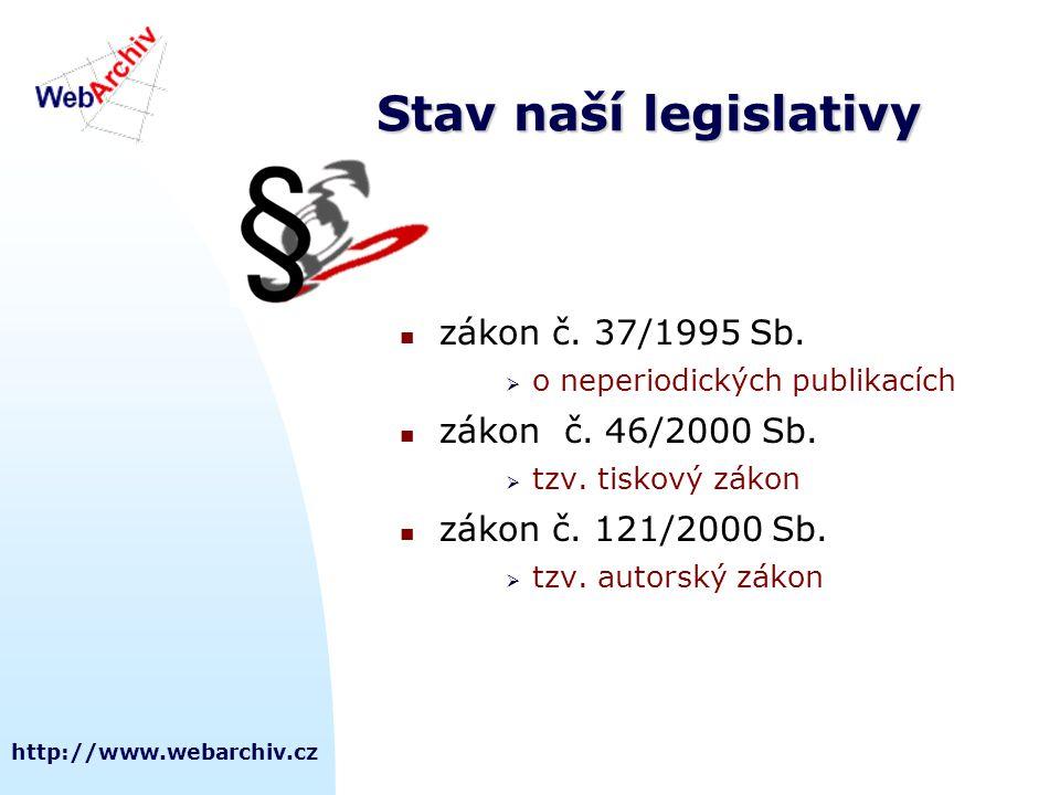 http://www.webarchiv.cz Dva hlavní přístupy v tvorbě elektronického archivu Kompletní archiv Kompletní archiv  automatizovaný sběr elektronických online zdrojů (tzv.