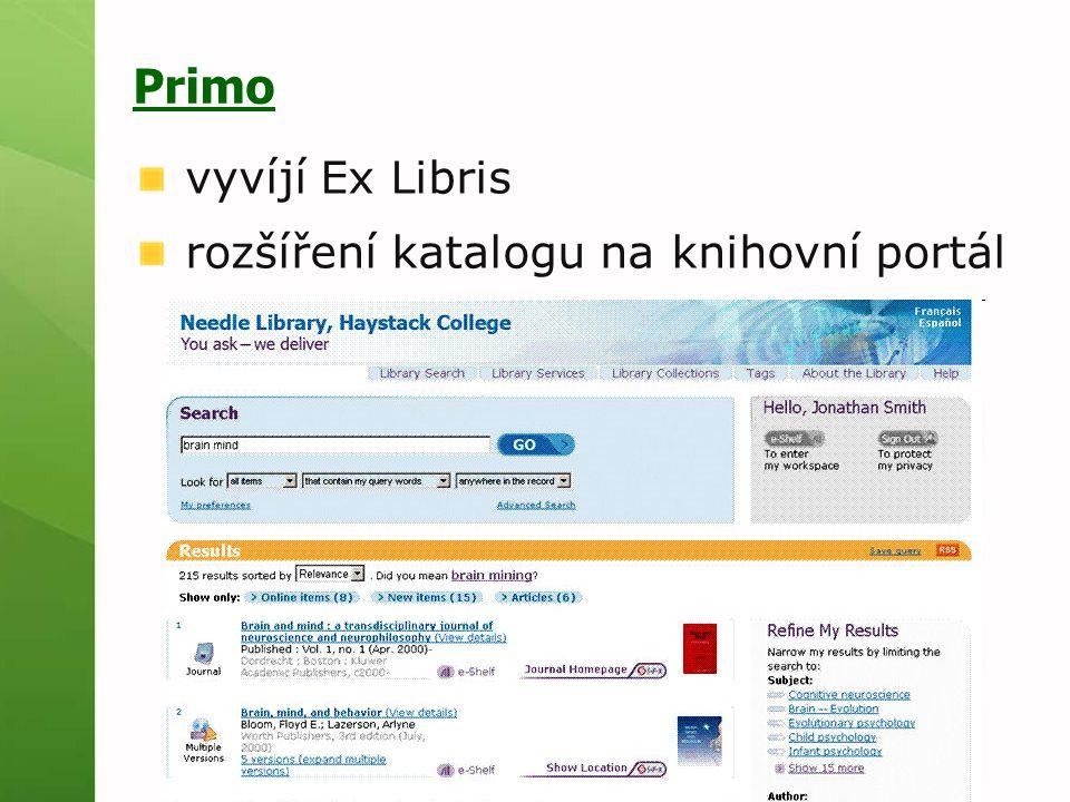 Primo vyvíjí Ex Libris rozšíření katalogu na knihovní portál