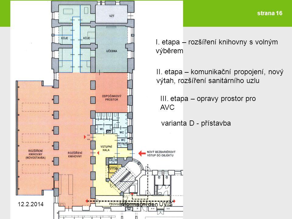 I. etapa – rozšíření knihovny s volným výběrem II.