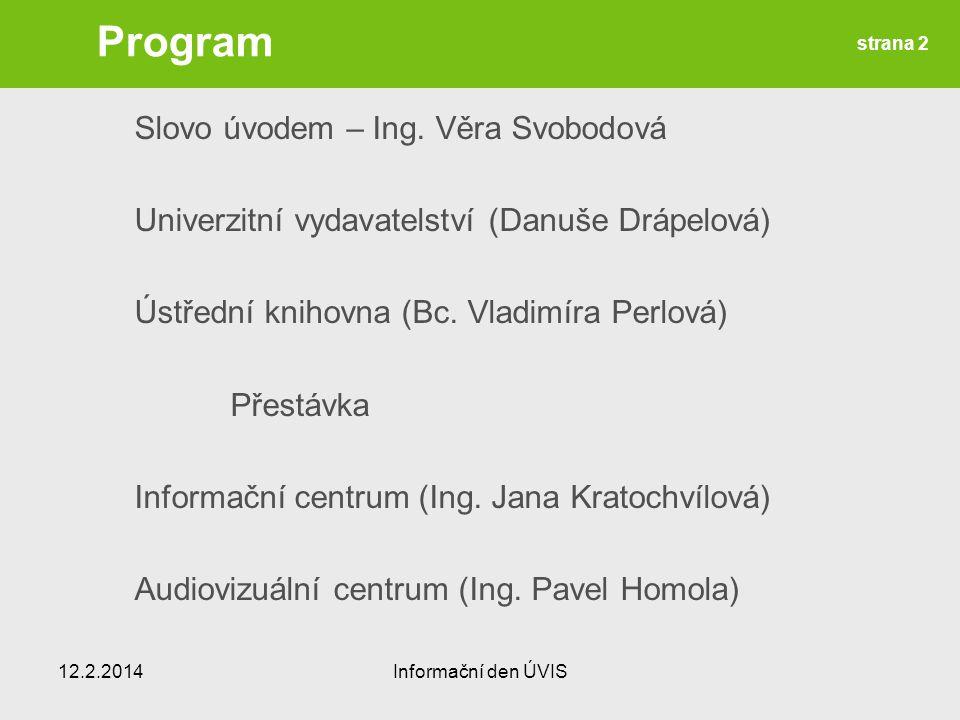 Program Slovo úvodem – Ing.