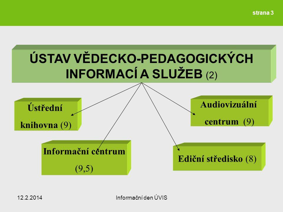ÚSTAV VĚDECKO-PEDAGOGICKÝCH INFORMACÍ A SLUŽEB (2) Ústřední knihovna (9) Ediční středisko (8) Informační centrum (9,5) Audiovizuální centrum (9) 12.2.2014Informační den ÚVIS strana 3