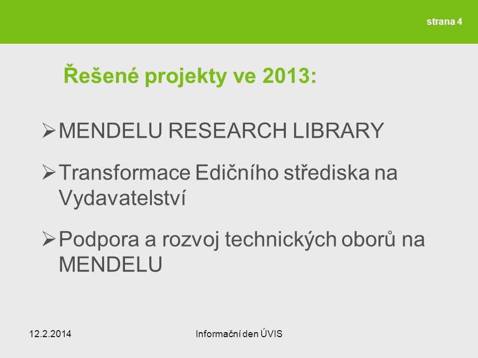 Řešené projekty ve 2013:  MENDELU RESEARCH LIBRARY  Transformace Edičního střediska na Vydavatelství  Podpora a rozvoj technických oborů na MENDELU 12.2.2014Informační den ÚVIS strana 4