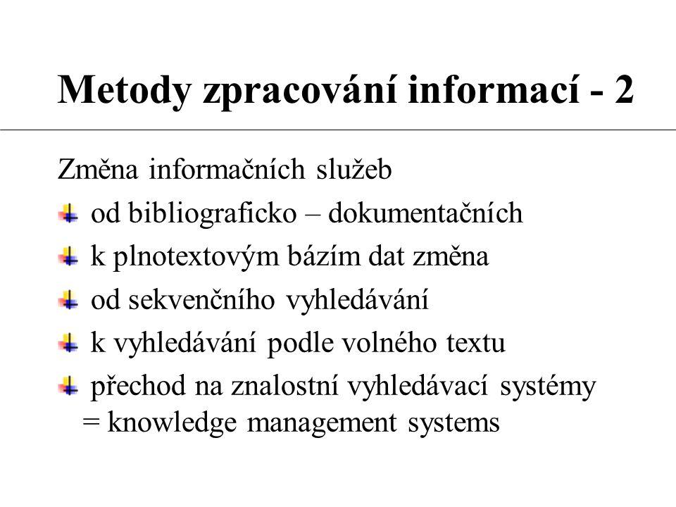 Metody zpracování informací - 2 Změna informačních služeb od bibliograficko – dokumentačních k plnotextovým bázím dat změna od sekvenčního vyhledávání