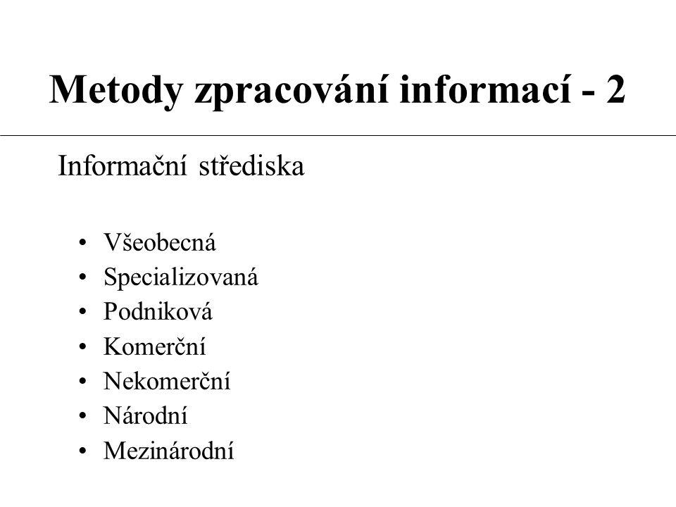 Metody zpracování informací - 2  Informační systémy dokumentografické sekvenčního typu  Informační systémy na základě Current Contents  Informační systémy dialogové