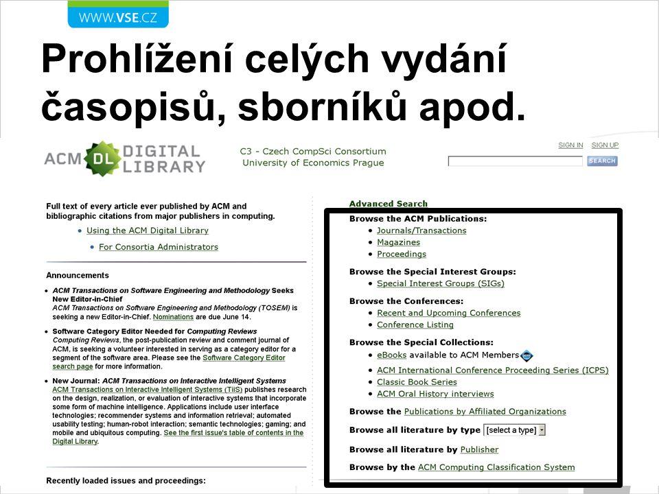 Prohlížení celých vydání časopisů, sborníků apod.