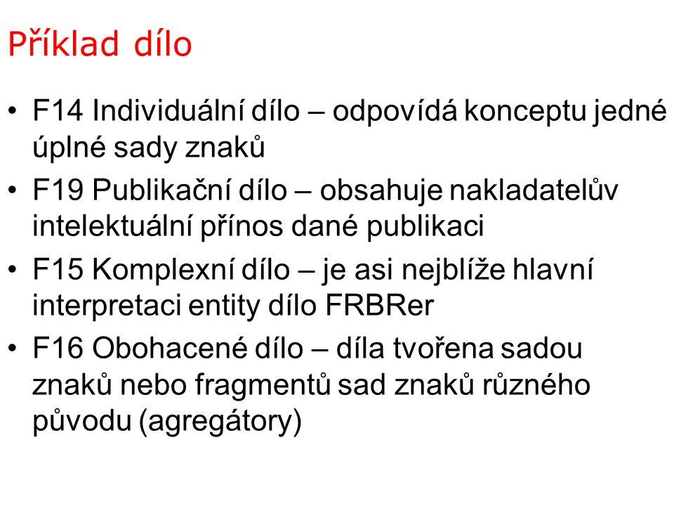 Příklad dílo F14 Individuální dílo – odpovídá konceptu jedné úplné sady znaků F19 Publikační dílo – obsahuje nakladatelův intelektuální přínos dané pu