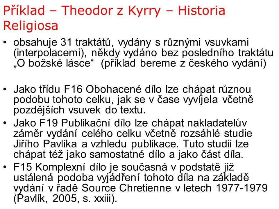 "Příklad – Theodor z Kyrry – Historia Religiosa obsahuje 31 traktátů, vydány s různými vsuvkami (interpolacemi), někdy vydáno bez posledního traktátu """