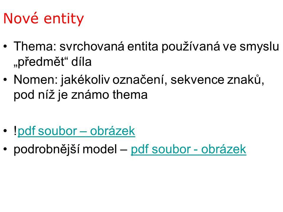 """Nové entity Thema: svrchovaná entita používaná ve smyslu """"předmět"""" díla Nomen: jakékoliv označení, sekvence znaků, pod níž je známo thema !pdf soubor"""