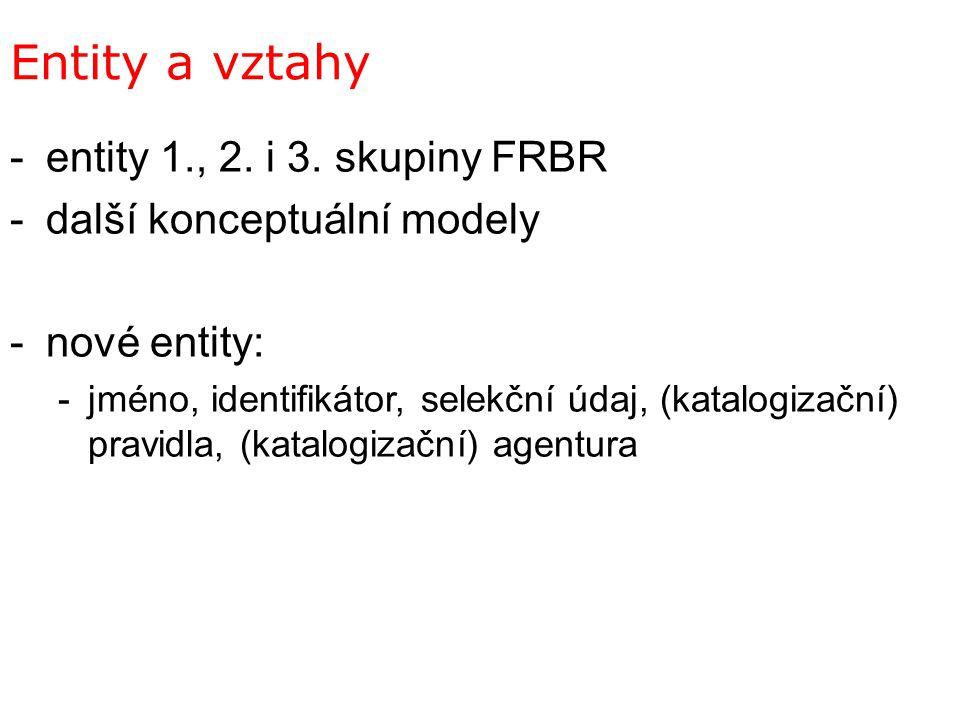 Entity a vztahy -entity 1., 2. i 3. skupiny FRBR -další konceptuální modely -nové entity: -jméno, identifikátor, selekční údaj, (katalogizační) pravid