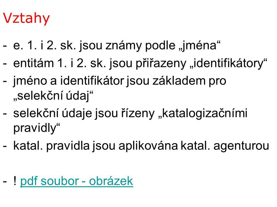 """Vztahy -e. 1. i 2. sk. jsou známy podle """"jména"""" -entitám 1. i 2. sk. jsou přiřazeny """"identifikátory"""" -jméno a identifikátor jsou základem pro """"selekčn"""
