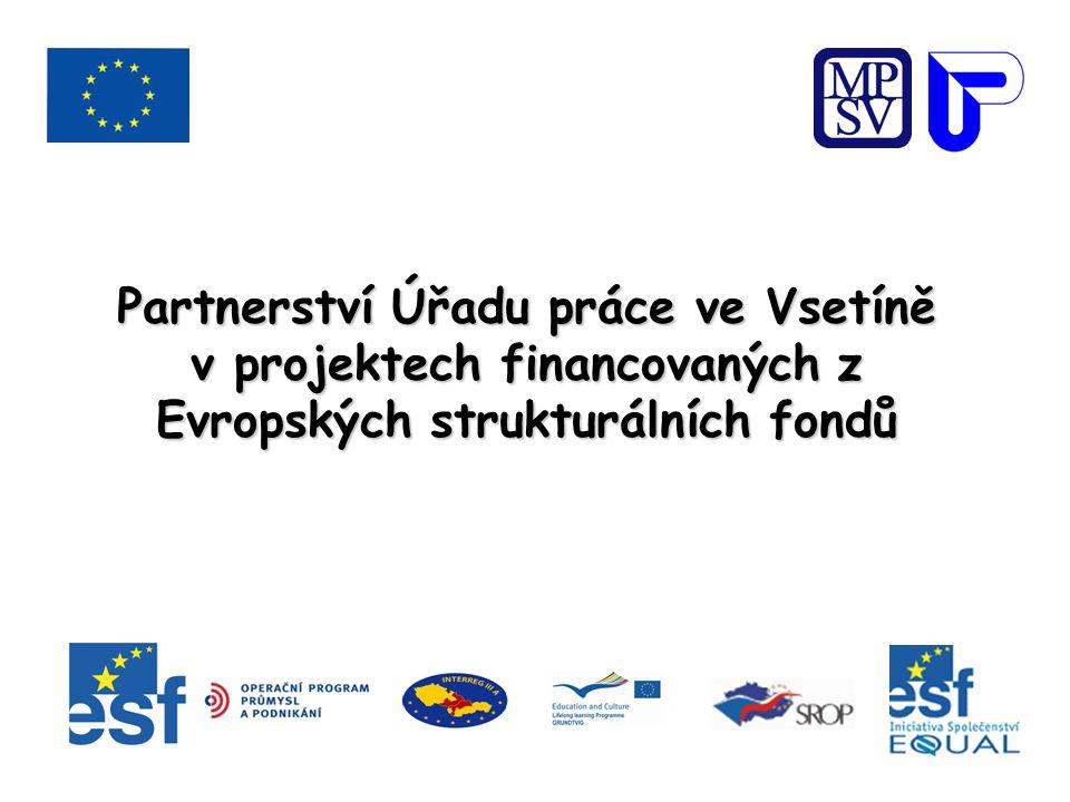 Partnerství Úřadu práce ve Vsetíně 26 26OP RLZ 2 2SROP 3 3Iniciativa Společenství EQUAL 1 1Iniciativa Společenství INTERREG IIIA 1 1OP PP 1 1Vzdělávací program EU LLP/Grundtvig2 1 267 osob Celkový počet klientů / z toho ÚP ve Vsetíně 5 580/1 267 osob 524,356 mil Kč Celková výše rozpočtů všech těchto projektů 524,356 mil Kč