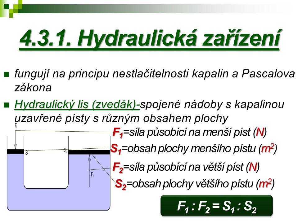 4.3.1. Hydraulická zařízení fungují na principu nestlačitelnosti kapalin a Pascalova zákona Hydraulický lis (zvedák)- Hydraulický lis (zvedák)-spojené