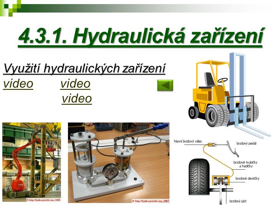 4.3.1. Hydraulická zařízení Využití hydraulických zařízení Využití hydraulických zařízení video video video