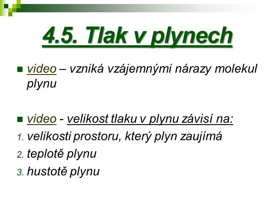 4.5. Tlak v plynech video – vzniká vzájemnými nárazy molekul plynu video video - velikost tlaku v plynu závisí na: video 1. velikosti prostoru, který