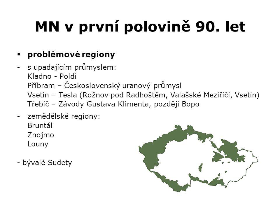 MN v první polovině 90. let  problémové regiony -s upadajícím průmyslem: Kladno - Poldi Příbram – Československý uranový průmysl Vsetín – Tesla (Rožn