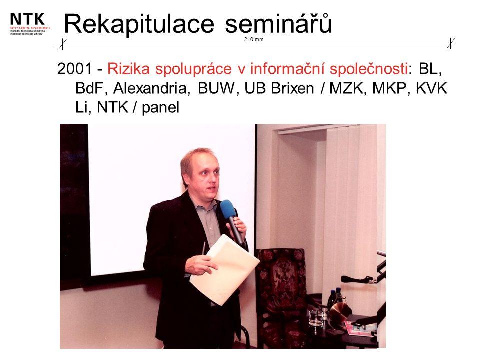 Rekapitulace seminářů 2001 - Rizika spolupráce v informační společnosti: BL, BdF, Alexandria, BUW, UB Brixen / MZK, MKP, KVK Li, NTK / panel 210 mm