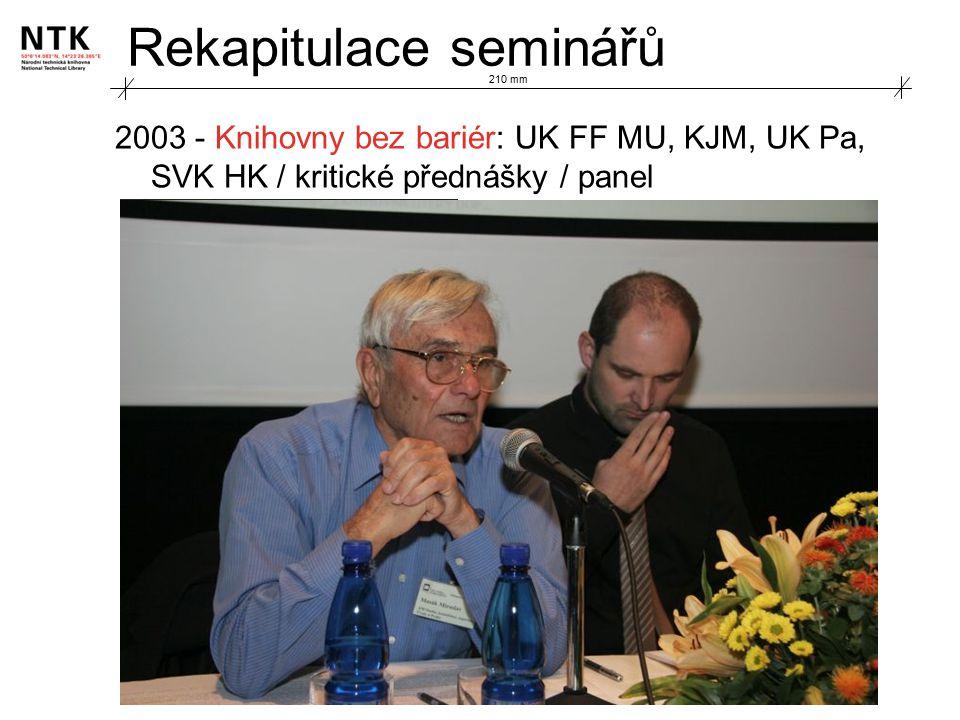 Rekapitulace seminářů 2003 - Knihovny bez bariér: UK FF MU, KJM, UK Pa, SVK HK / kritické přednášky / panel 210 mm