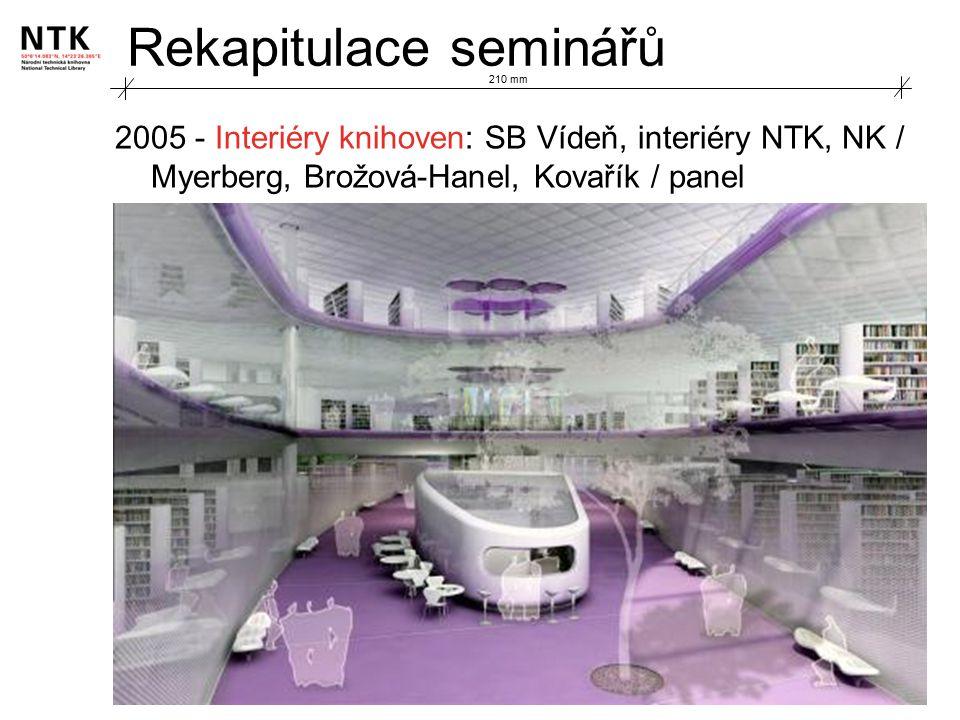 Rekapitulace seminářů 2005 - Interiéry knihoven: SB Vídeň, interiéry NTK, NK / Myerberg, Brožová-Hanel, Kovařík / panel 210 mm