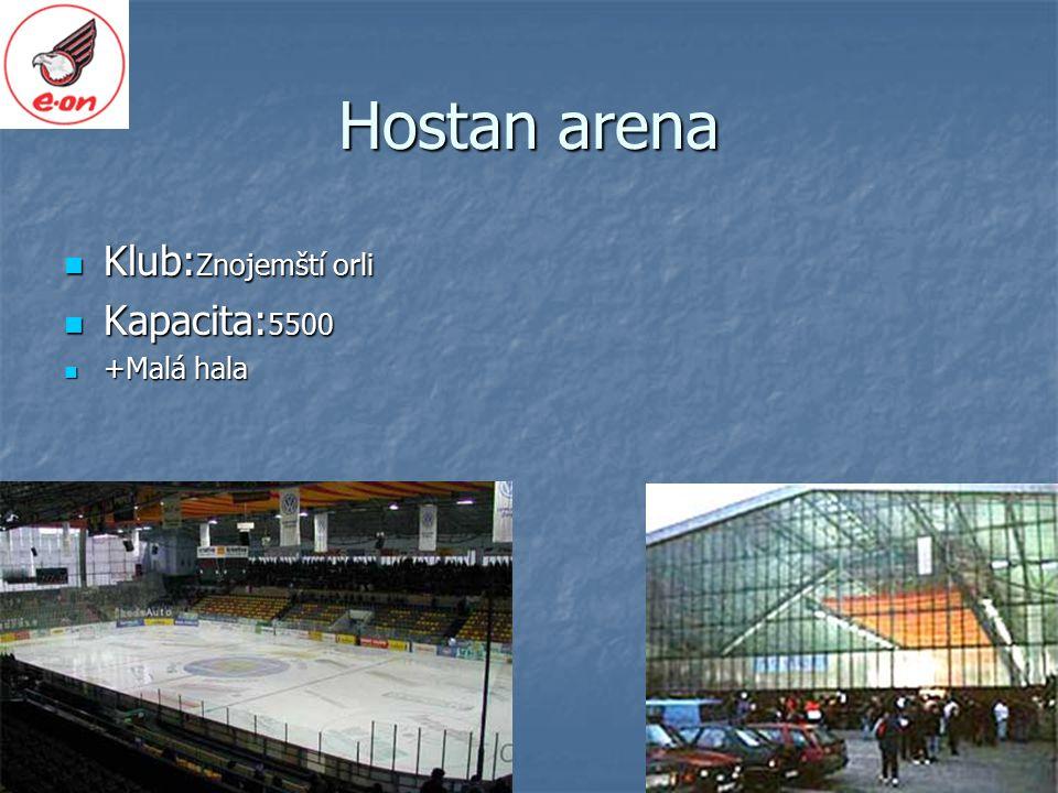 Hostan arena Klub: Znojemští orli Klub: Znojemští orli Kapacita: 5500 Kapacita: 5500 +Malá hala +Malá hala