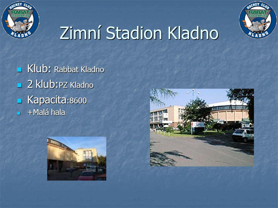 Klub: Rabbat Kladno Klub: Rabbat Kladno 2 klub: PZ Kladno 2 klub: PZ Kladno Kapacita :8600 Kapacita :8600 +Malá hala +Malá hala Zimní Stadion Kladno
