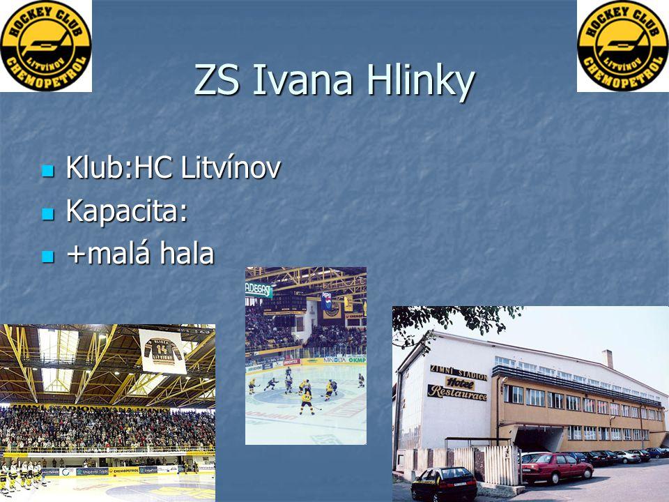 ZS Ivana Hlinky Klub:HC Litvínov Klub:HC Litvínov Kapacita: Kapacita: +malá hala +malá hala