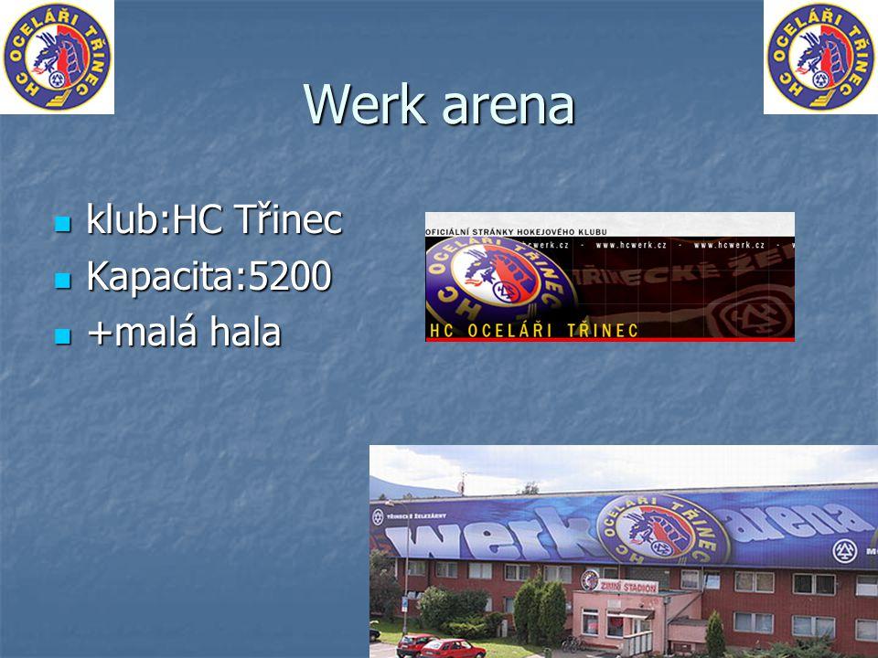 Werk arena klub:HC Třinec klub:HC Třinec Kapacita:5200 Kapacita:5200 +malá hala +malá hala