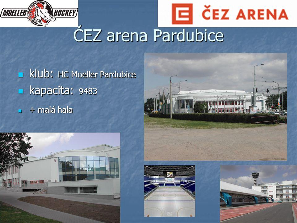 ČEZ arena Pardubice klub: HC Moeller Pardubice klub: HC Moeller Pardubice kapacita: 9483 kapacita: 9483 + malá hala + malá hala
