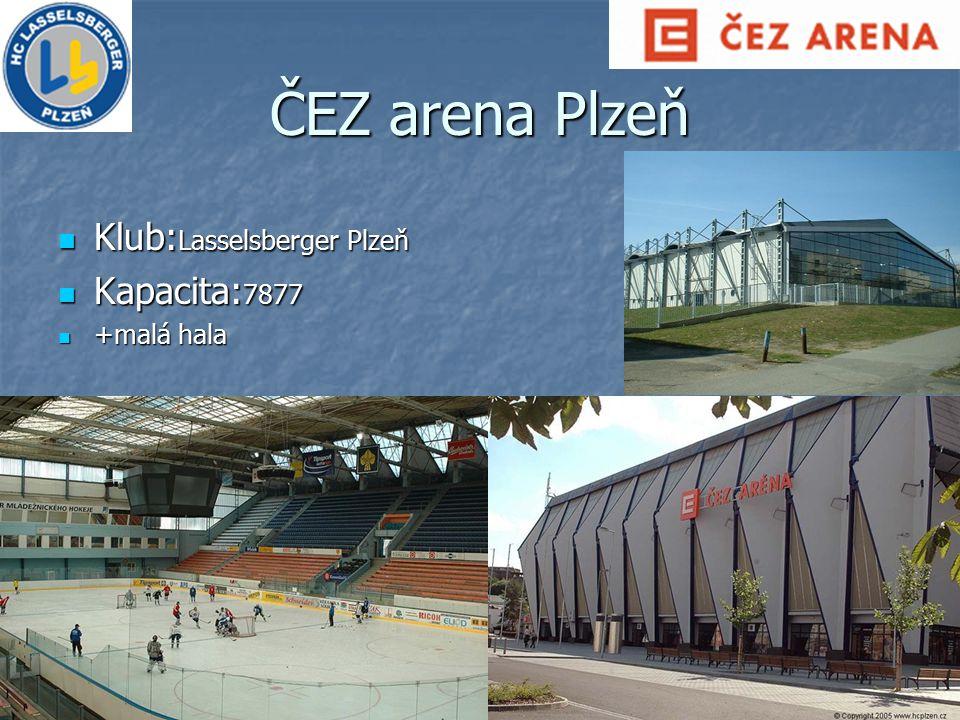 ČEZ arena Plzeň Klub: Lasselsberger Plzeň Klub: Lasselsberger Plzeň Kapacita: 7877 Kapacita: 7877 +malá hala +malá hala