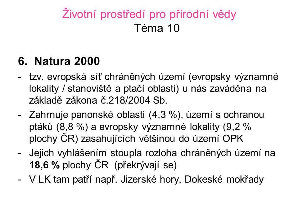 Životní prostředí pro přírodní vědy Téma 10 6.Natura 2000 -tzv.