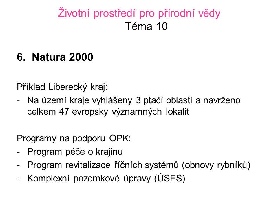 Životní prostředí pro přírodní vědy Téma 10 6.