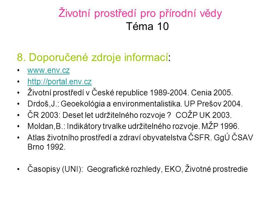 Životní prostředí pro přírodní vědy Téma 10 8.